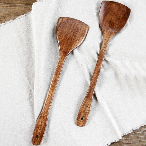 Healthy Natural Wooden Turner Kithcen Long-handled Wood Shovel Spatula Rice Scoop Wooden spade non stick pan 19*9.5cm