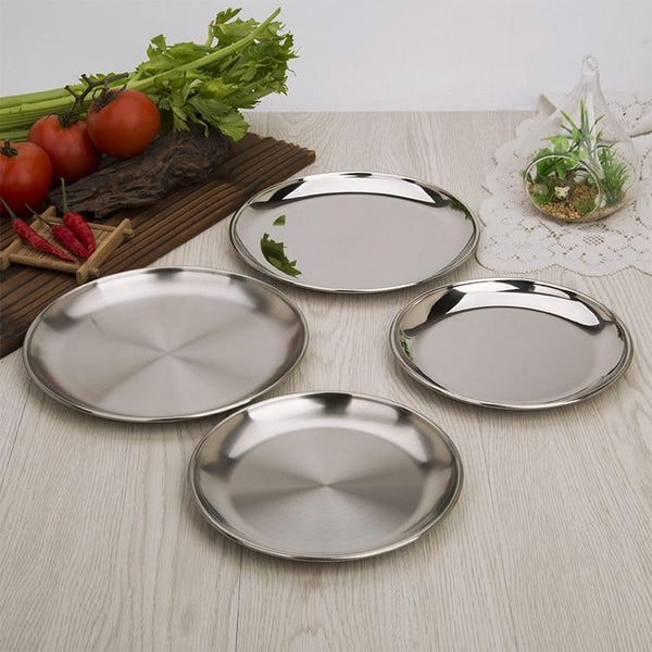 1pcs High good quality stainless steel plate single layer hairline finish mirror finish Thickened Barbecue bone tableware Dish