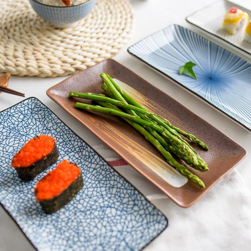 1pc 9.8 inch Japanese Style Dinner Plate Ceramic Sushi Plate Fish Dinner Dishes Rectangle Household Dinnerware