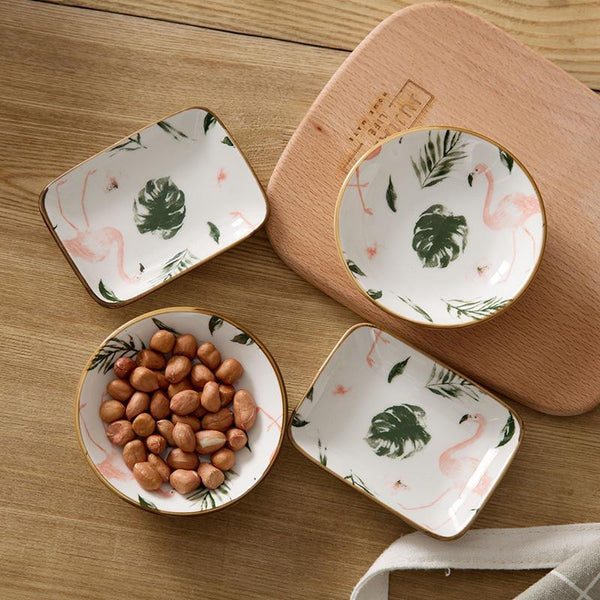 3.75 in Ceramic Small Dish Japanese Tableware Vinegar Dish Soy Sauce Dish Seasoning Dish Flamingo Plate