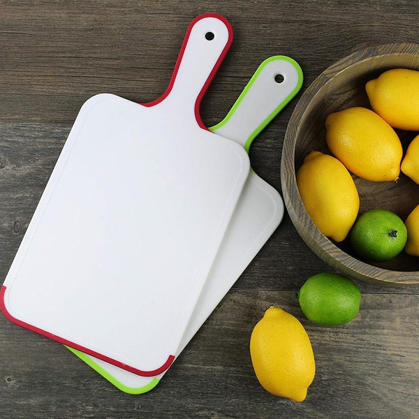New Table Tennis Shaped PP Chopping Board Anti-slip Handle TPE Edge Portable Food Cutting Board Mat