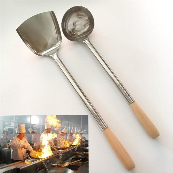 big long spatula shovel chef cooking cocina utensilios blade Kitchen Utensil Wooden Handle Stainless Steel Turner Soup Spoon wok