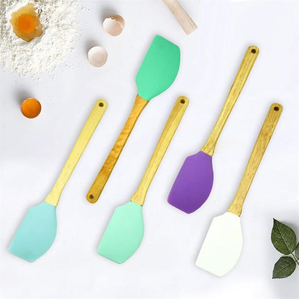 QueenTime Silicone Spatula With Wooden Handle Heat-resistant Cream Scraper Non-stick Butter Spreader Colorful Kitchen Utensils