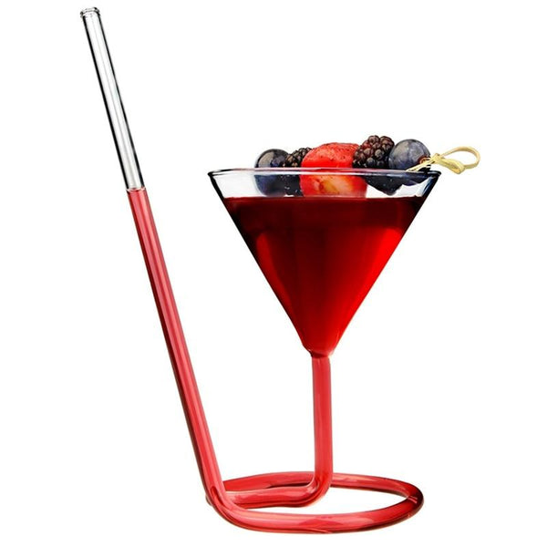 Creative Screw Spiral Straw Molecular Cocktail Glass Bar Party Wine Glass Martini Champagne Glass Wine Glass Charm