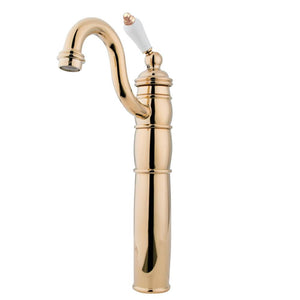 Vessel Bathroom Faucet in Polish Brass - BFKB1422PL - www.artesanocoppersinks.com