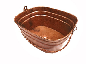 "MASTER BUCKET # 4 in Natural - VS039LNA - Rectangular Vessel Bathroom Copper Sink - 20 x 16  x 10"" - Gauge 16"