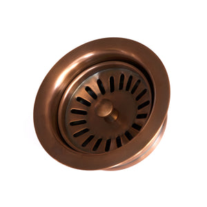 "Kitchen/Bar Drain - Solid Copper Basket Strainer with Disposal Trim  3.5"" - DR700WC -  (For garbage disposal) - Artesano Copper Sinks"