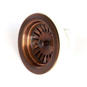 "Kitchen/Bar Drain - Solid Copper Basket Strainer  3.5"" - DR600WC - (Not for garbage disposal) - Artesano Copper Sinks"