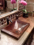 "DOISNEAU in Cafe Viejo - VS013CV - Rectangular Raised Profile Bathroom Copper Sink with 2"" Apron - 20 x 14 x 6"" - Gauge 16 - www.artesanocoppersinks.com"