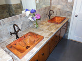 "DOISNEAU in Natural - VS013NA - Rectangular Raised Profile Bathroom Copper Sink with 2"" Apron - 20 x 14 x 6"" - Gauge 16"