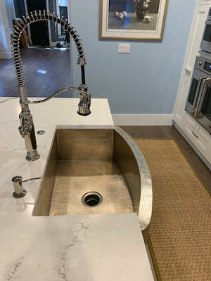 MTO - Farmhouse Curved Apron in BN installed - www.artesanocoppersinks.com