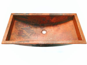 "HOCKNEY - VS042 - Trough Undermount or Drop-In  Bathroom Copper Sink with 1.0"" Flat Rim - 26 x 13 x 6"" - Thick Gauge 14"