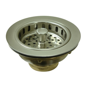 "Kitchen/Bar Drain -  Basket Strainer  3.5"" in BRUSHED NICKEL - KDKBS1008 - (Not for garbage disposal) - www.artesanocoppersinks.com"