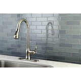 Single Handle Pull - Down Kitchen Faucet in Brushed Nickel - KFGSY7778ACL - www.artesanocoppersinks.com