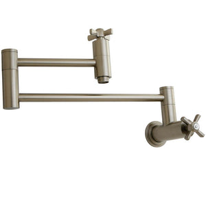 Wall Mount Pot Filler Kitchen Faucet in Brushed Nickel - KFKS8108ZX - www.artesanocoppersinks.com