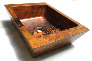 "KIRO in Natural - VS035NA -  Rectangular Vessel Bathroom Copper Sink - 20 x 13 x 5"" - Double Wall - Artesano Copper Sinks"