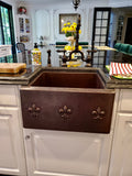 "Farmhouse with Straight Apron Kitchen Copper Sink - Fleur de Lis - 21 x 18 x 10"" - KS014CV - www.artesanocoppersinks.com"