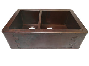 "Farmhouse 40/60 with Straight Apron Kitchen Copper Sink - Rivet Design - Double Basin - 33 x 22 x 10.5"" - KS015CV"