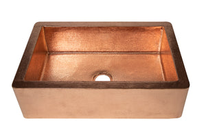 "Farmhouse Kitchen Copper Sink with Straight Apron in Polished Copper - 33 x 22 x 9"" - KS052PC - Artesano Copper Sinks"