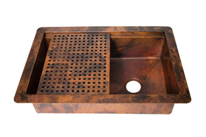 "Undermount Kitchen Copper Sink in Natural finish - 33 x 22 x 9"" - KS061NA"