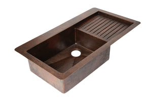 "Undermount Kitchen Copper Sink in Sanded Copper finish - 40 x 22 x 9"" - KS062SC"