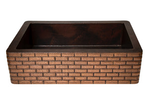 "Farmhouse Kitchen Copper Sink with Straight Apron and brick design in Cafe Viejo - 33 x 22 x 9"" - KS063CV"