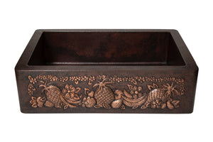 "Farmhouse Kitchen Copper Sink with Straight Apron and fruits design in Cafe Viejo - 33 x 22 x 9"" - KS064CV - www.artesanocoppersinks.com"