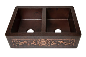 "Farmhouse 50/50 Kitchen Copper Sink with Straight Apron and floral design in Cafe Viejo - 33 x 22 x 9"" - KS067CV - www.artesanocoppersinks.com"