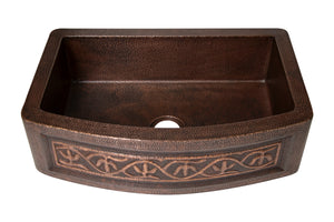 "Farmhouse Kitchen Copper Sink with Curved Apron and cacti design in Sanded Copper finish - 33 x 22 x 9"" - KS070SC"