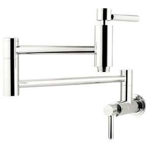 Wall Mount Pot Filler Kitchen Faucet in Polished Chrome - KFKS8101DL - www.artesanocoppersinks.com