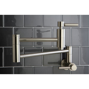 Wall Mount Pot Filler Kitchen Faucet in Brushed Nickel - KFKS8108DL - www.artesanocoppersinks.com