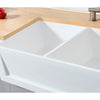 "Solid Surface White Stone Apron Front Farmhouse Double Bowl Kitchen Sink 36 x 18 x 10""-  KSGKFA361810SQD"