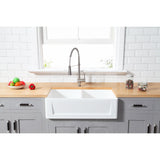 "Solid Surface White Stone Apron Front Farmhouse Double Bowl Kitchen Sink 33 x 18 x 10"" with Apron Design KSGKFA331810SQD - www.artesanocoppersinks.com"