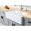 "Solid Surface White Stone Apron Front Farmhouse Double Bowl Kitchen Sink 36 x 18 x 10"" with Apron Design - KSGKFA361810BCD - www.artesanocoppersinks.com"