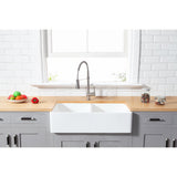 "Solid Surface White Stone Apron Front Farmhouse Double Bowl Kitchen Sink 33 x 18 x 10"" - KSGKFA331810BCD - www.artesanocoppersinks.com"