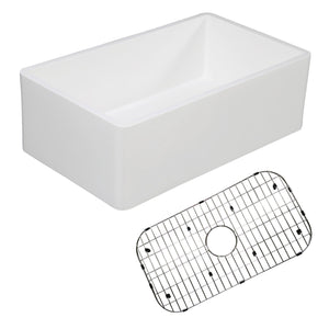 "Solid Surface White Stone Apron Front Farmhouse Single Bowl Kitchen Sink 30 x 18 x 10"" with Strainer and Grid - KSKGKFA301810BC"