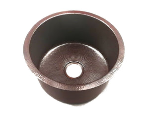 "Kitchenette # 2 - Small Round Undermount Kitchen Copper Sink - Single Basin - 18 x 8.75"" - KS013CV - www.artesanocoppersinks.com"