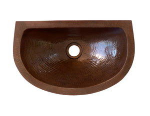 LUNA MAYA SMALL in Cafe Viejo - BS013CV - Oval Undermount Bath Copper Sink with Flat Back and Flat Rim - 16 x 10 x 5""