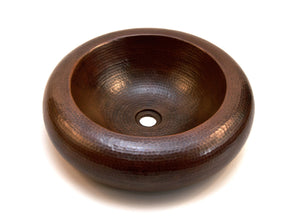 "MERIDA in Cafe Viejo - VS017CV - Round Vessel Bathroom Copper Sink - 18  x 5"" - Double Wall - www.artesanocoppersinks.com"
