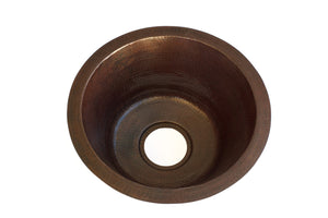 "NAPA in Cafe Viejo - BP001CV - Round Undermount Bar Copper Sink with 1"" Flat Rim - 15 x 7"" - Gauge 16 - www.artesanocoppersinks.com"