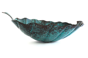 "O'KEEFE  in Oxidized Copper - VS029OC - Leaf Shape Vessel Bathroom Copper Sink - 18 x 15 x 5.5"" - Thick Gauge 14"