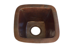 "PASO ROBLES in Cafe Viejo - BP003CV -  Square Undermount Bar Copper Sink with 1.5"" Flat Rim - 15 x 15 x 7"" - Gauge 16 - www.artesanocoppersinks.com"