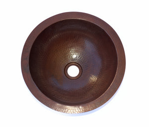 "ROUND SMALL in Cafe Viejo - BS007CV - Small Undermount Bath Copper Sink with 1"" FLAT Rim - 13 x 5"" - Artesano Copper Sinks"