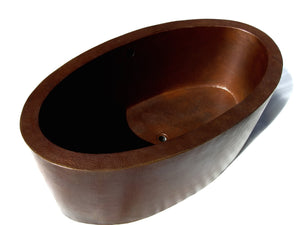 ROMANTICA in Cafe Viejo - BT001CV - Oval Double Wall Free Standing Copper Bathtub  64 x 36 x 24""