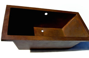 "SIESTA in Cafe Viejo - BT002CV - Drop in Rectangular Copper Bathtub 72 x 36 x 22.5"" - Artesano Copper Sinks"