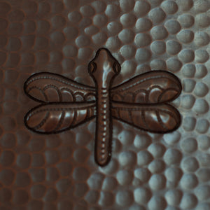 "Copper Tile - 4 x 4"" - TI011CV in Cafe Viejo finish (Dragonfly). - www.artesanocoppersinks.com"