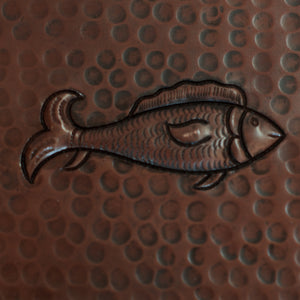 "Copper Tile - 4 x 4 x 0.25"" - TI012CV in Cafe Viejo finish (Fish). - www.artesanocoppersinks.com"