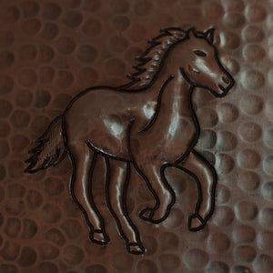 "Copper Tile - 4 x 4 x 0.25"" - TI013CV in Cafe Viejo finish (Horse). - www.artesanocoppersinks.com"