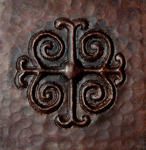 "Copper Tile - 4 x 4 x 0.25"" - TI017CV in Cafe Viejo finish (Medieval Cross). - www.artesanocoppersinks.com"