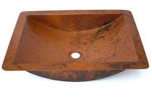 "TAMAYO in Natural - VS018NA - Rectangular Undermount Bathroom Copper Sink with 1.5"" Flat Rim - 22 x 16 x 5"" - Gauge 16"